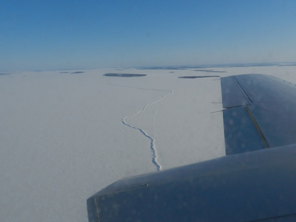 a pressure crack in the ice